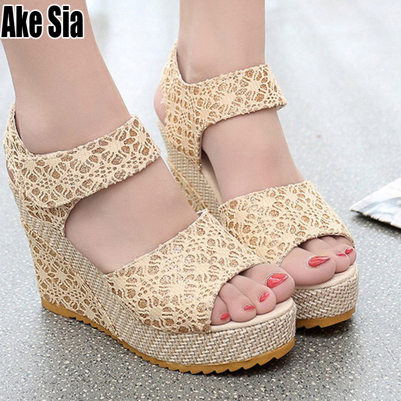 Sandals Shoes Wedge Platform High-Heels Hollow-Out Peep-Toe Fashion Women Summer Ladies