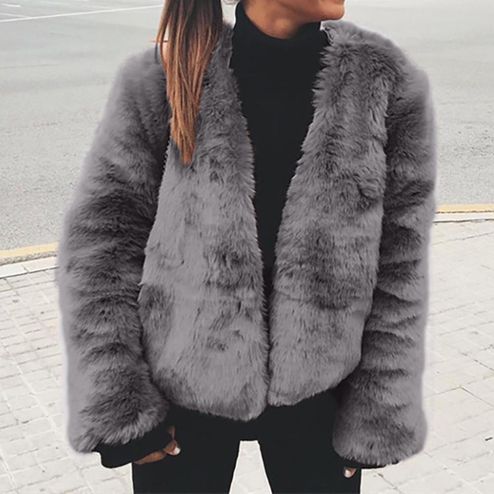women 39 s fluffy fur coat warm winter jacket teddy bear tops. Black Bedroom Furniture Sets. Home Design Ideas