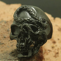 Wholesale Size 7 to Size 16 Unisex 316L Stainless Steel Black Skull Snake Ring