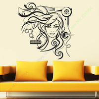 Sexy Girl Vinyl Wall Decal Hairdresser Salon Nail Barber Shop Hair Stylis Wall Sticker Hair Shop