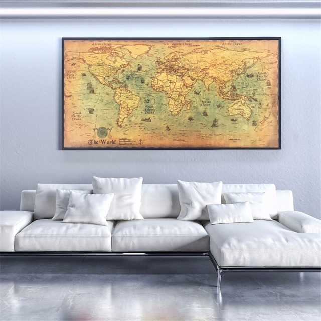 Large vintage world map kraft paper paint wall poster living room large vintage world map kraft paper paint wall poster living room art crafts maps bar cafe gumiabroncs Gallery