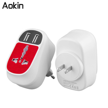 Aokin Universal 3.1A EU UK US Plug 2 Ports USB Wall Charger Convertible Multifunction Ports Quick Charging USB Charger Adapter