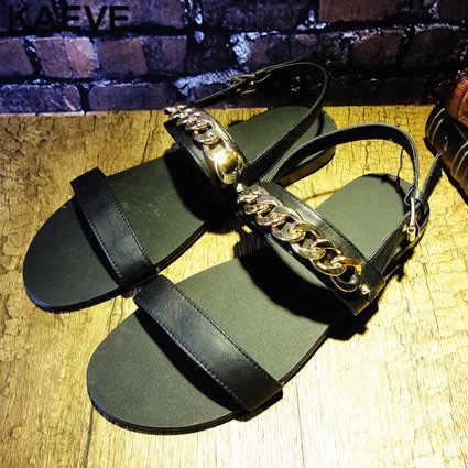Burnu açık Moda Siyah Sandalet Deri Yumuşak Erkek Altın Zincir Düz Sandalet Erkek Roma Hollow Yaz Ayakkabı İngiltere