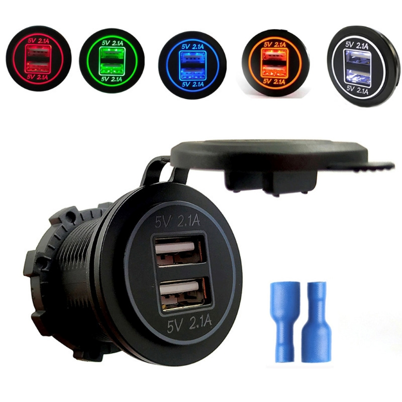 12V/24V Dual USB 2.1A Car Charger Power Adapter For iPhone iPad Mobile Phone GPS