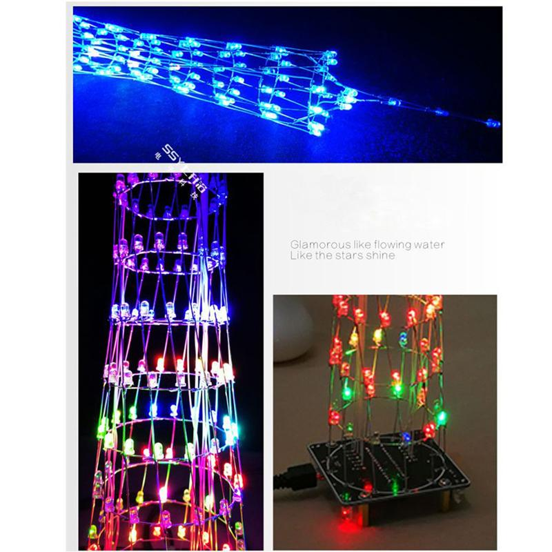 New Fashion Leory Diy 3d Led Light Cube Kit 16x16 268 Led Music Spectrum Diy Electronic Kit With Remote Control Welding Auxiliary Plate Accessories & Parts