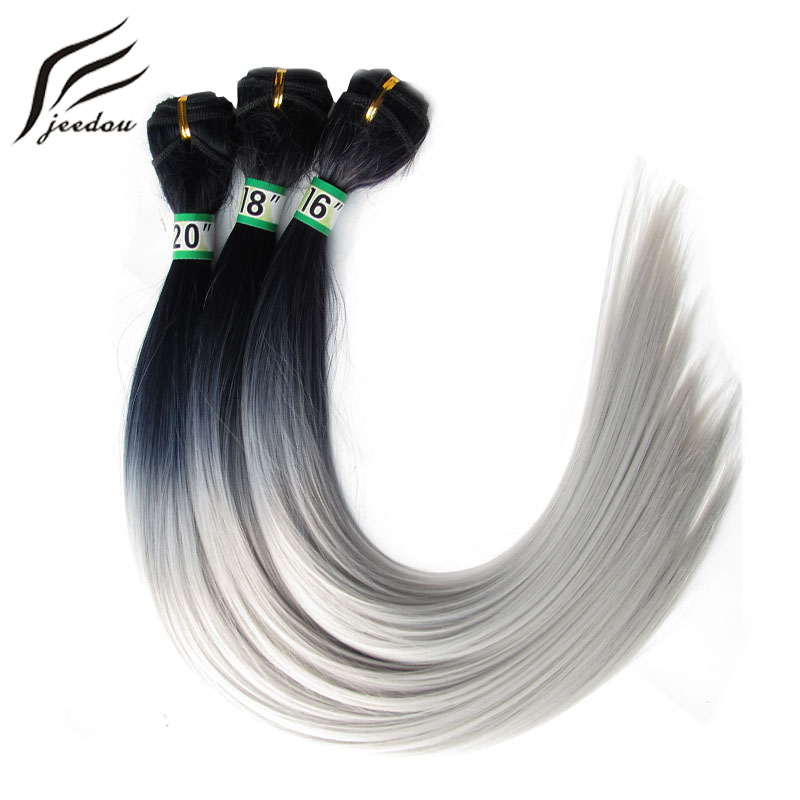 jeedou 3Pieces/pack 210g Full Head Hair Weaving 16 18 20inch Each One Synthetic Hair Extensions Natural Black Gray Color