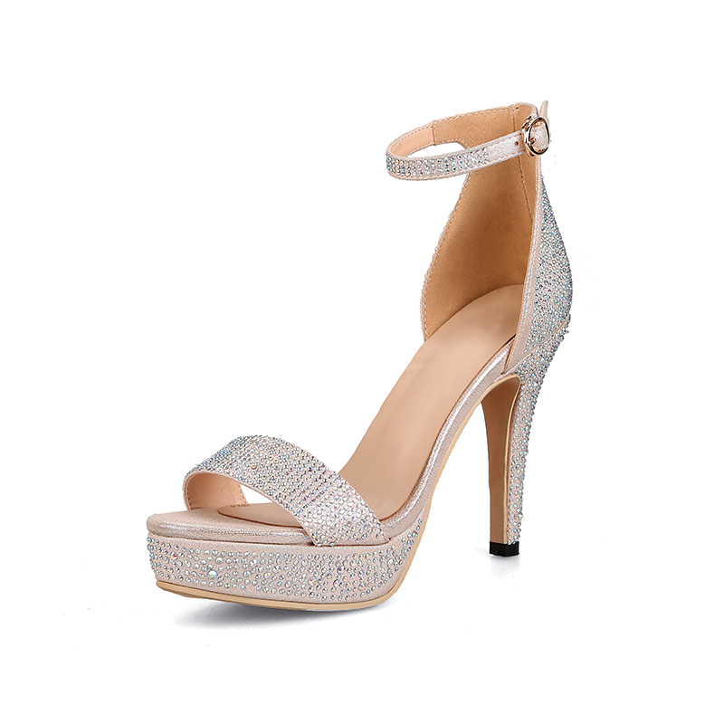 ФОТО Summer Women Shoes Sandals Genuine Leather Fashion Casual Buckle Strap Thin Heel High Heels Platform Cover Heel Solid Crystal