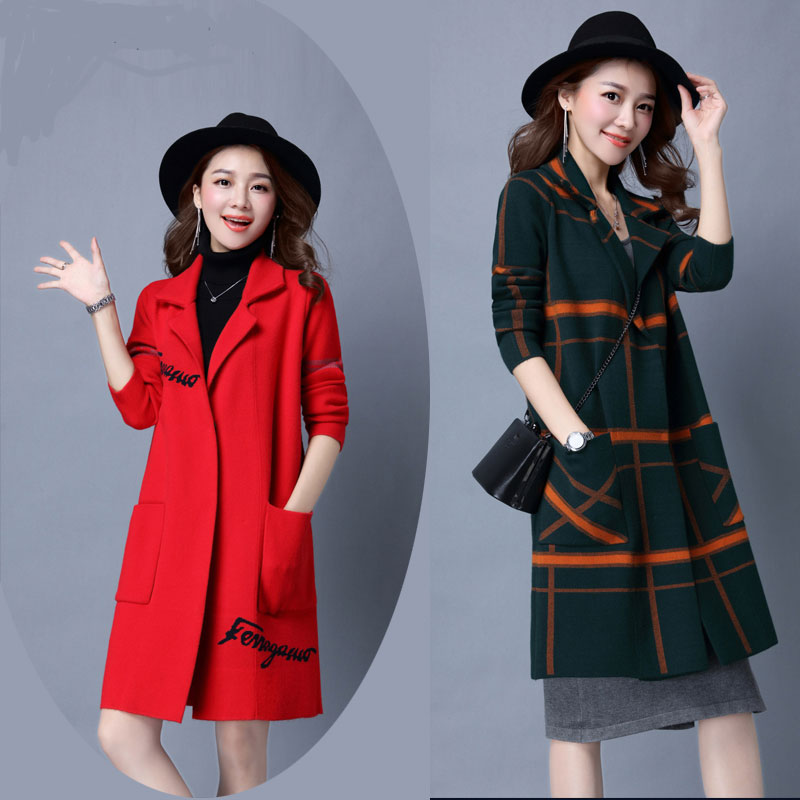 Autumn and winter Korean version of plaid pocket cardigan wild long section of loose big ...