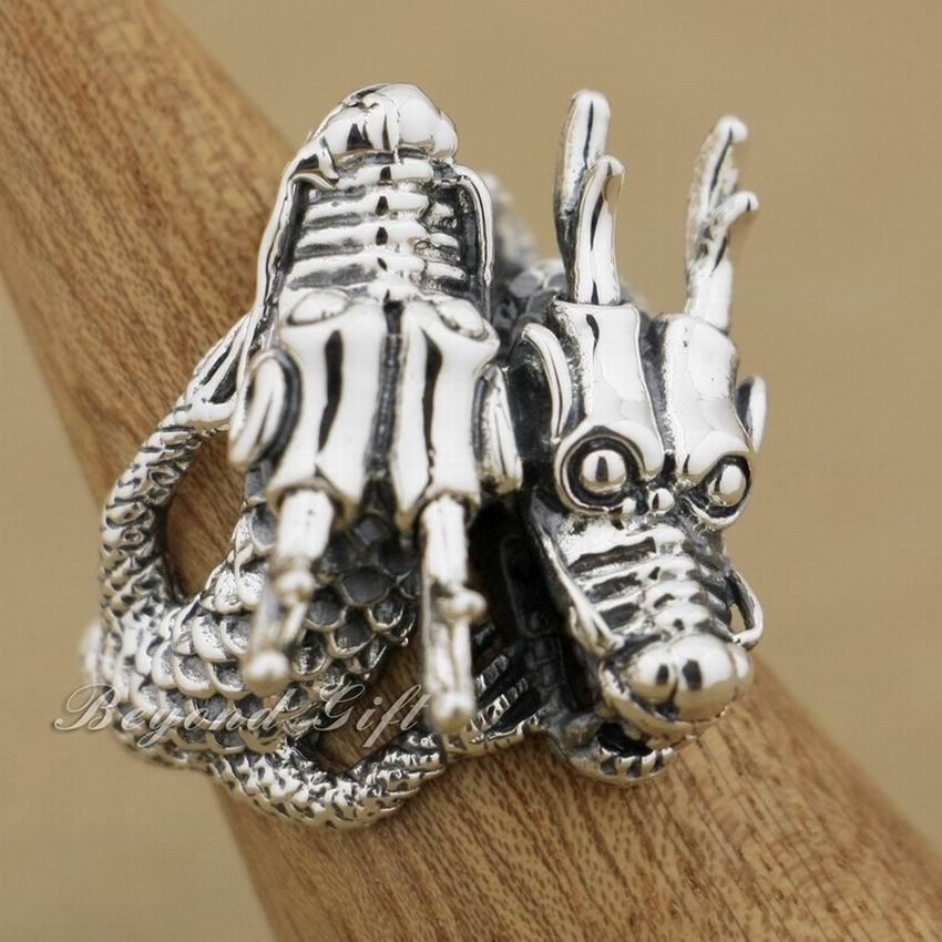 LINSION Huge Heavy 925 Sterling Silver Double Dragon Head Mens Biker Rock Punk Ring 9Q014