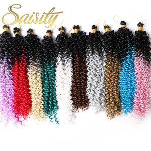 Saisity Curly Crochet Hair Extensions Ombre Heat Resistant Synthetic Braiding Hair Bulk Bohemian Hair For Crocheting Braids(China)