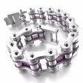 bicycle chain bracelet Wrist link bump silver purple fishnet biker punk rock, bracelets simple rectangle