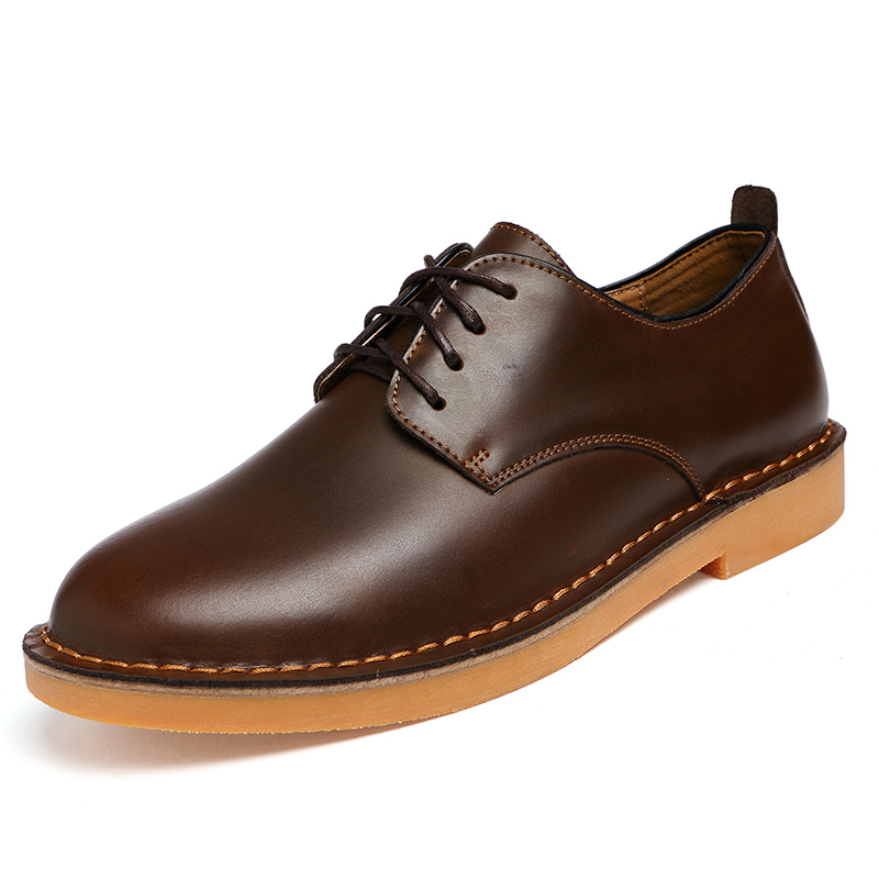 ФОТО Men Leather Shoes Casual New 2016 Genuine Leather Shoes Men Oxford Fashion Lace Up Dress Shoes Outdoor Work Shoe Sapatos