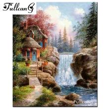 FULLCANG full square mosaic waterfall house 5d diamond painting rhinestone cross stitch scenery diamond embroidery painting F111
