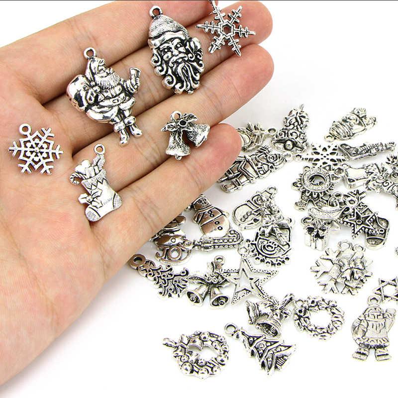 10 יחידות/20 יחידות/50 יחידות לערבב עתיק כסף עץ חג המולד סנטה פתית שלג ליל כל הקדושים Ghost קסם תליוני DIY nekclace צמיד תכשיטים