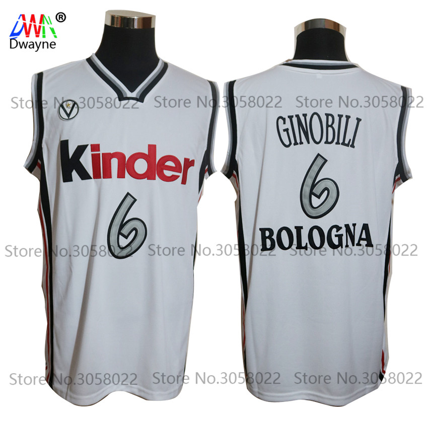цена на Manu Ginobili Jersey #6 Virtus Kinder Bologna European Mens Throwback Basketball Jersey Stitched White Camiseta De Baloncesto