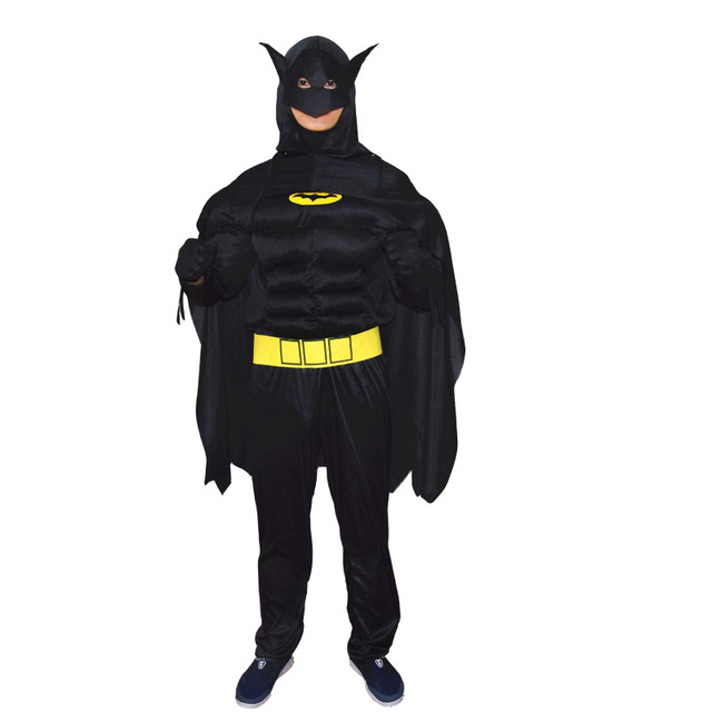 High Quality Adult Men Batman Muscle Costume Male Superman Cosplay