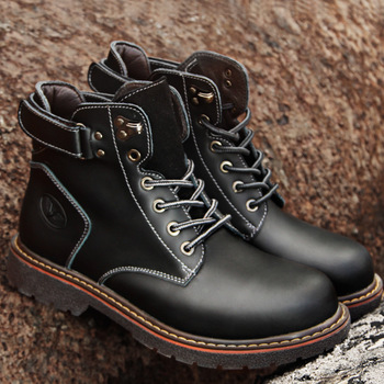 Men Motorcycle Boots Vintage Combat Boot Winter Fur 2018 New Cow Split Leather Lace Up Military Boots Men Shoes Ankle Boots vivodsicco new genuine patent leather men mid calf boot punk military combat men s leather desert biker motorcycle rock boots