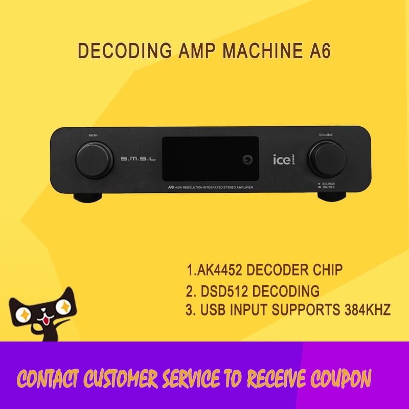 HOT SMSL A6 AK4452 50Wx2 HIFI Audio DSD512 Digital Decoder Amplifier OPTIC/Coaxial/XMOS/USB DAC 384KHZ/32Bit Aluminum Enclosure new smsl sanskrit pro b hifi digital audio bluetooth 4 0 decoder 32bit 384khz dsd usb coaxial optial dac cm6632a ak4490eq