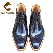 SIPRIKS; итальянские мужские сапоги с рантом в стиле ретро; Уникальные темно-синие ботинки-дезерты; мужские ковбойские ботинки; броги; размер 44