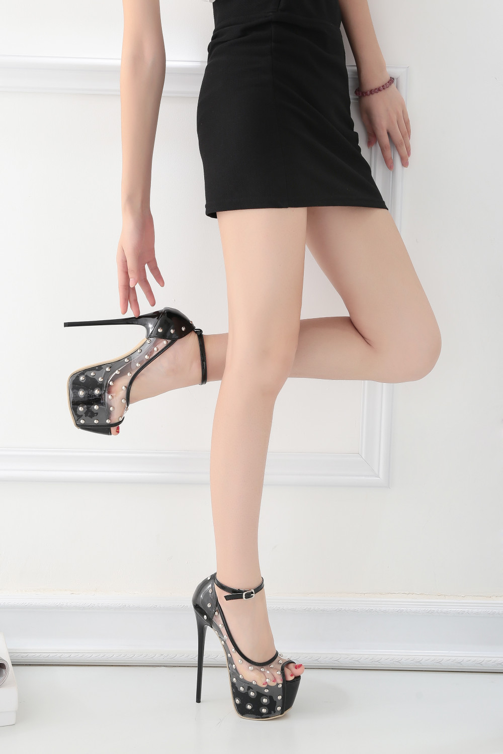 Rivet Studs Ankle Strap High Heel Pumps