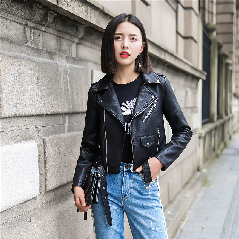 Ailegogo New Women Moto&Biker Faux   Leather   Jacket Punk Style Slim Belt Zipper Pocket Coat Black Red Outwear Female
