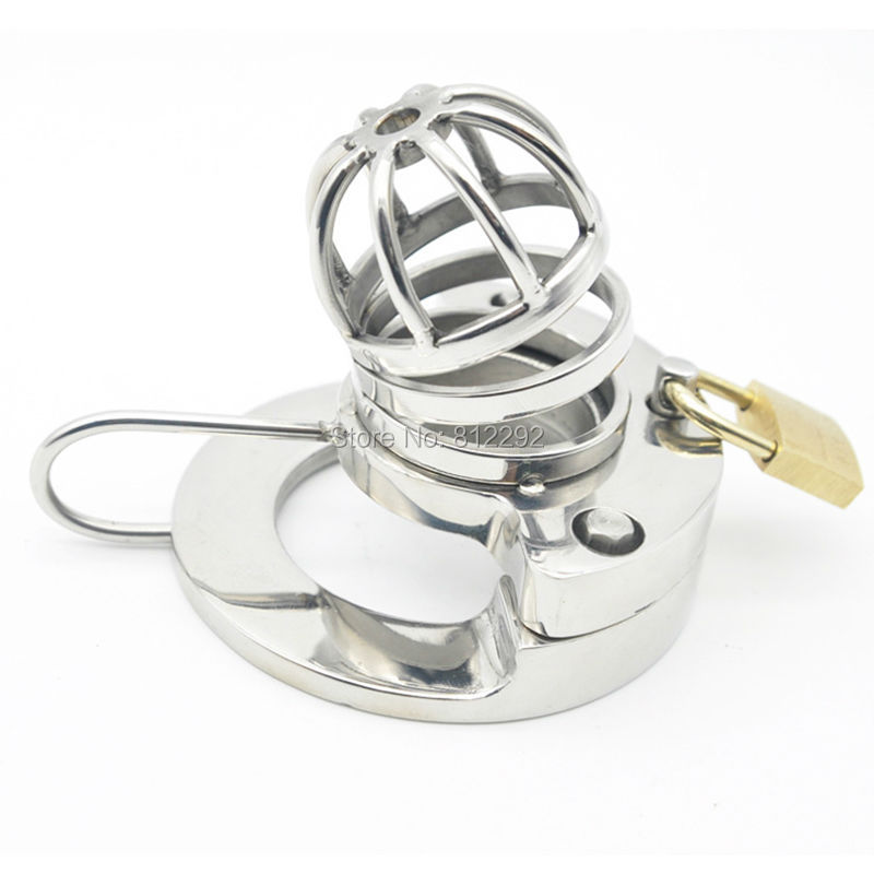 ФОТО NEW 316L stainless steel lock chaste open curved Male Chastity Device Penis Cook Cage Sex Toys