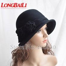 New Flower Wool Felt Hats For Women Chapeu Dress Fedoras Cloche Female Free Shipping SDDW041