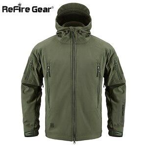 Image 3 - Refireギア紺ソフトシェルミリタリージャケット男性防水軍の戦術的なジャケットコート冬暖かいフリースフード付きウインドブレーカー