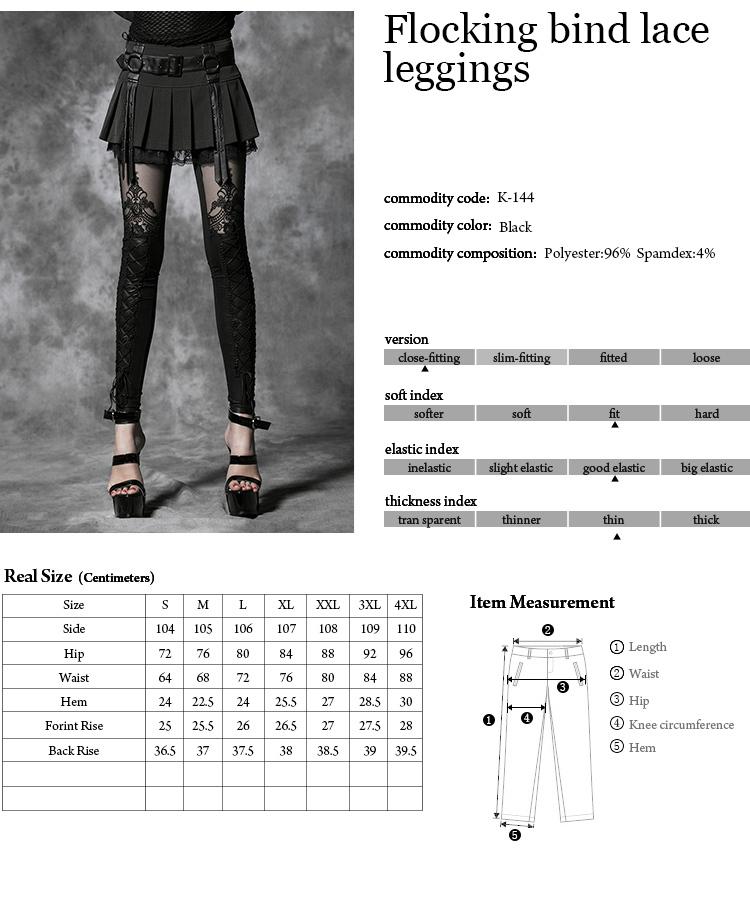 K-144 Fashion Women Sexy Good Elestic Flocking bind lace leggings