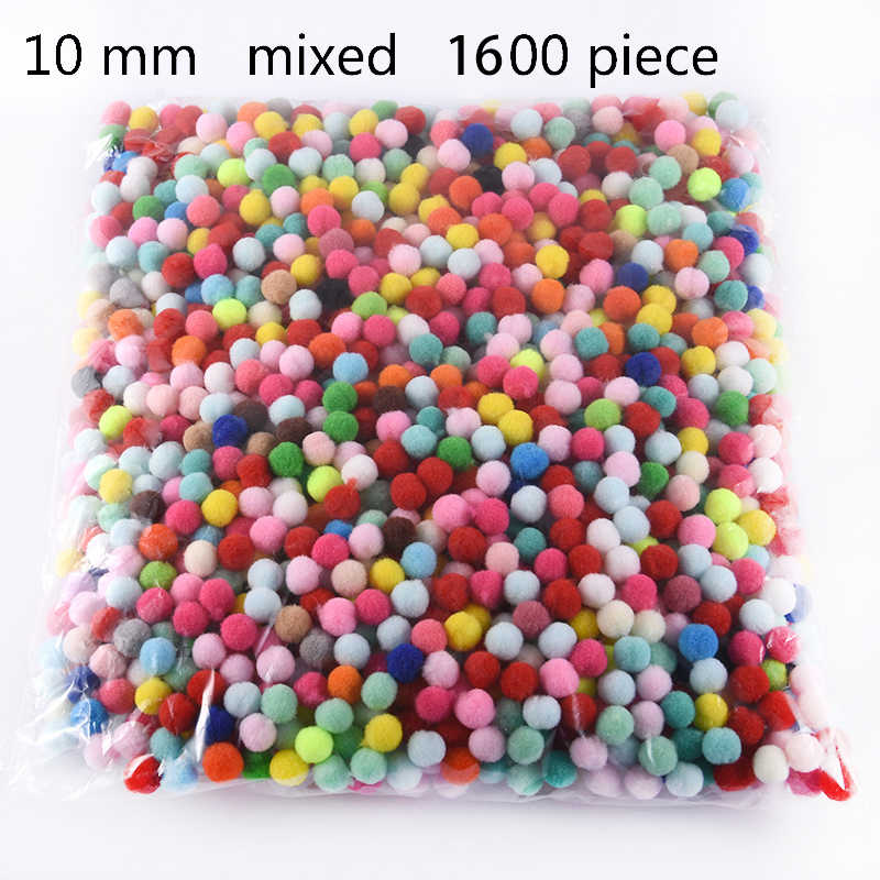 Wholesale Pompoms 1600 Pcs 10 mm Soft Pompones Fluffy Plush Fur Ball Crafts Toys DIY Home Decoration Sewing Supplies Accessories