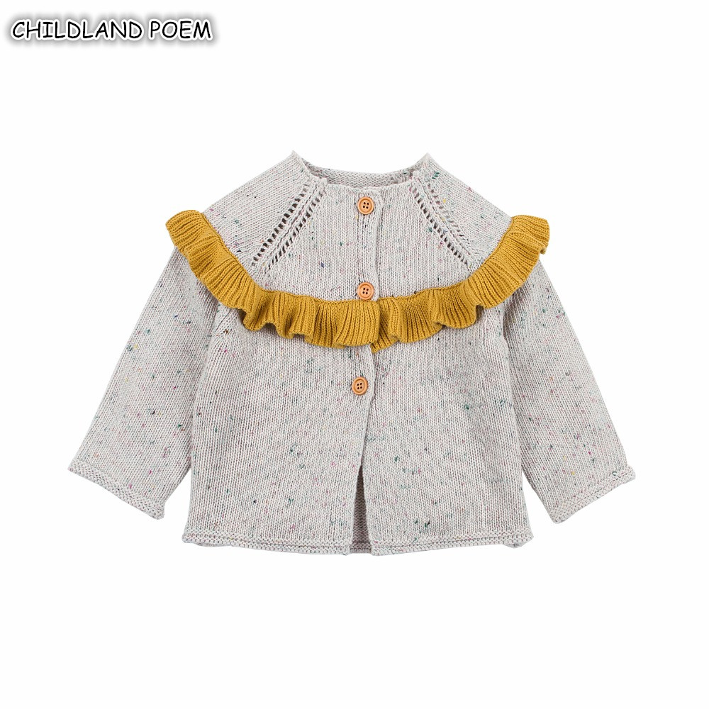 Baby Girl Sweater Coat Autumn Ruffle Knitted Baby Sweater For Girls Winter Baby Girls Cardigan Princess Baby Knitted Clothes sweet bow girl sweater cardigan coat autumn kids knitted cotton sweater for baby girl long sleeve o neck cardigan girls clothing