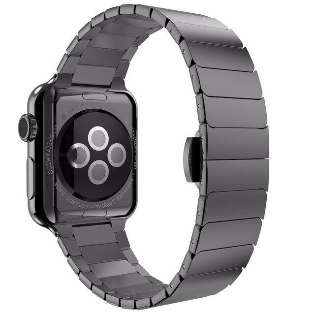 Butterfly застежка Замок Link loop ремешок из нержавеющей стали для Apple Watch band link браслет ремешок для iwatch
