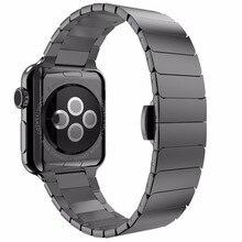 Бабочка застежка Замок Link loop ремешок из нержавеющей стали для Apple Watch band link браслет ремешок для iwatch