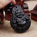 Chinese Traditional Wood Products Ebony Wood Good Luck Peace Winding Maitreya Car Key Ring Pendant Keychain