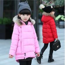 2017 новый плащ цю дон с толстыми хлопка-проложенный одежды большой девушки слово хлопка-ватник ребенка с капюшоном зимняя куртка пальто