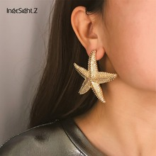 IngeSight.Z Elegant Gold Color Starfish Earrings Statement A