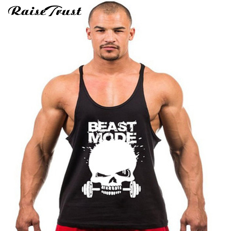 Fitness Gym Skull Weightlifting Skriv ut Stringer Tank Top Män Bodybuilding and Fitness Västar Bomull Singlets Muscle Toppar västar