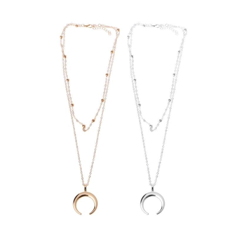 Мода Бохо полумесяц Кулон ожерелье двойной рог ювелирные изделия Минимальный подарок подруге длинное ожерелье чокер женский 2018 Новый