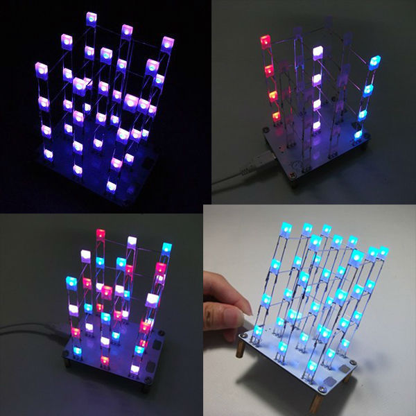 DIY Touchable button 3x3x4 Colorful LED Light Cube Kit Shining Rainbow Led Lamp Parts Kit