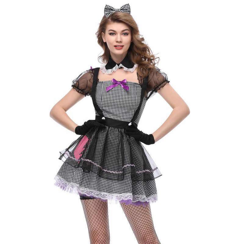 Siyah & Beyaz Ekose Lolita Seksi fransız hizmetçi kostümü Cosplay süslü elbise Yetişkin Kadın Cadılar Bayramı Karnaval Kostümleri Rol Oynamak Kıyafetler