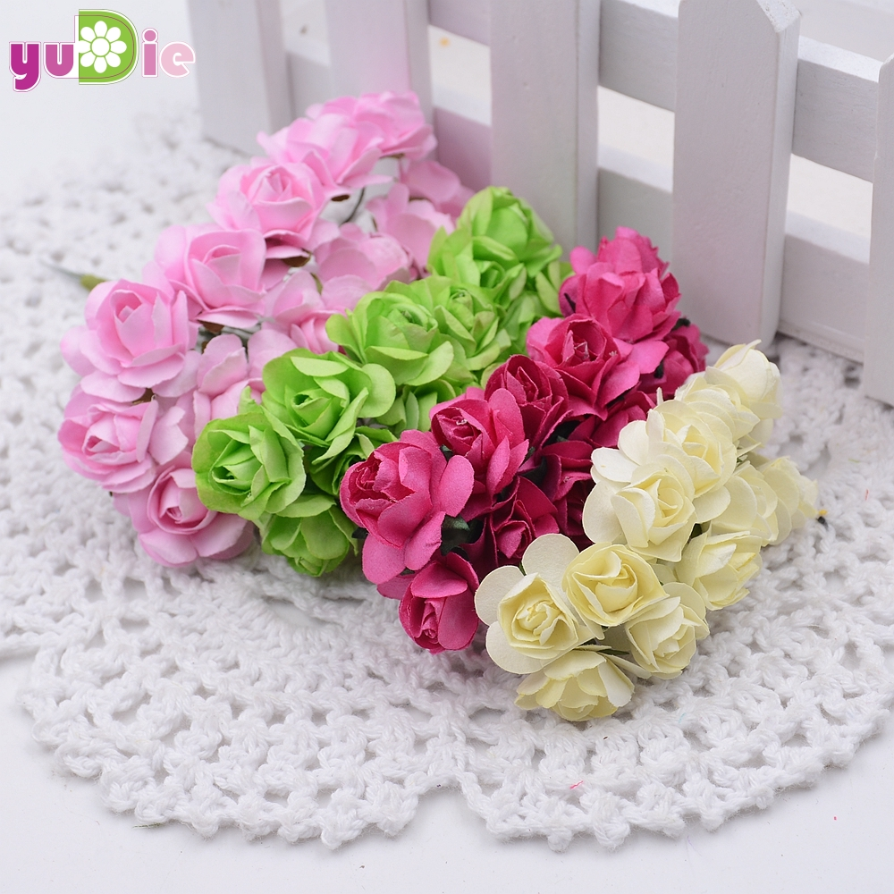 288pcslot Mini 15cm Mini Paper Rose Artificial Rose Wedding