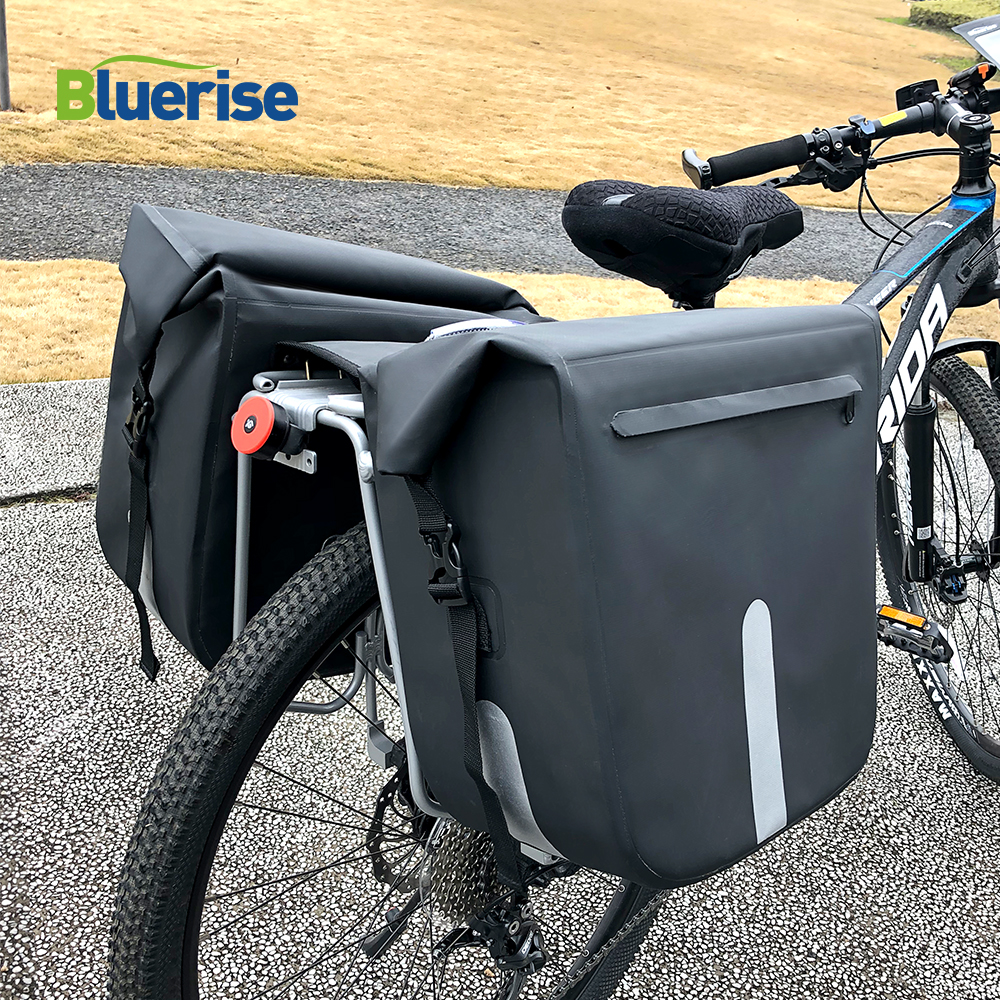 BLUERISE 46L PVC Cycling Waterproof Double Bicycle Bags Pannier Trunk Bags Metal Buckle For Fixing On