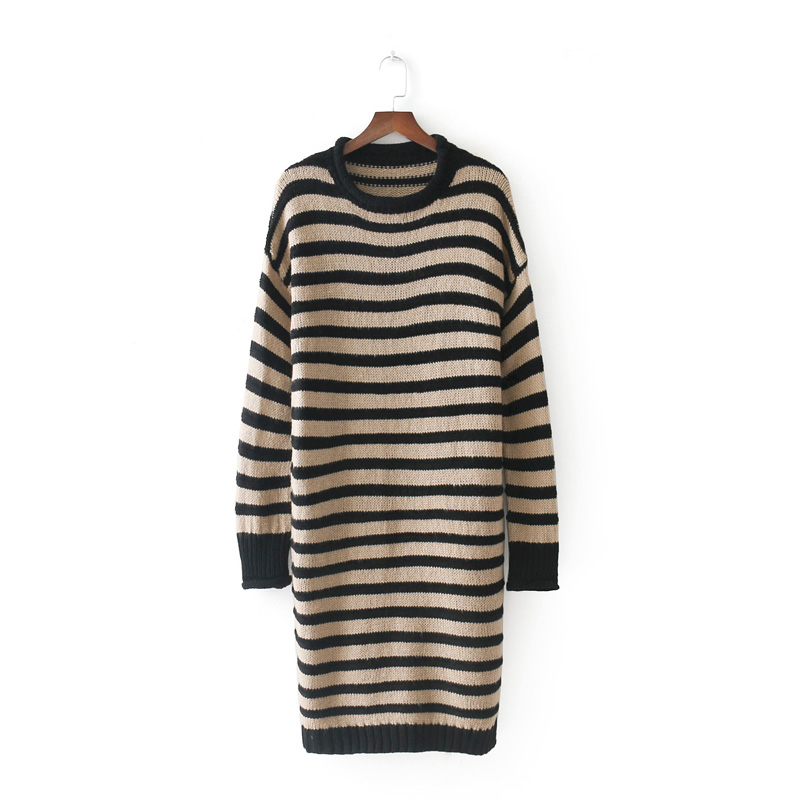 European Style Women Vintage Striped Knitted Sweater Dress Casual Long Sleeve O Neck Pullover Loose Autumn Winter Dress 17NovW1 women s casual style round neck half sleeves striped pullover sweater