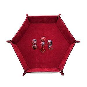 Image 5 - Tablero de polígono de cuero PU Placa de dados de almacenamiento de placa de Bar club nocturno juego de mesa de regalo bandeja de almacenamiento