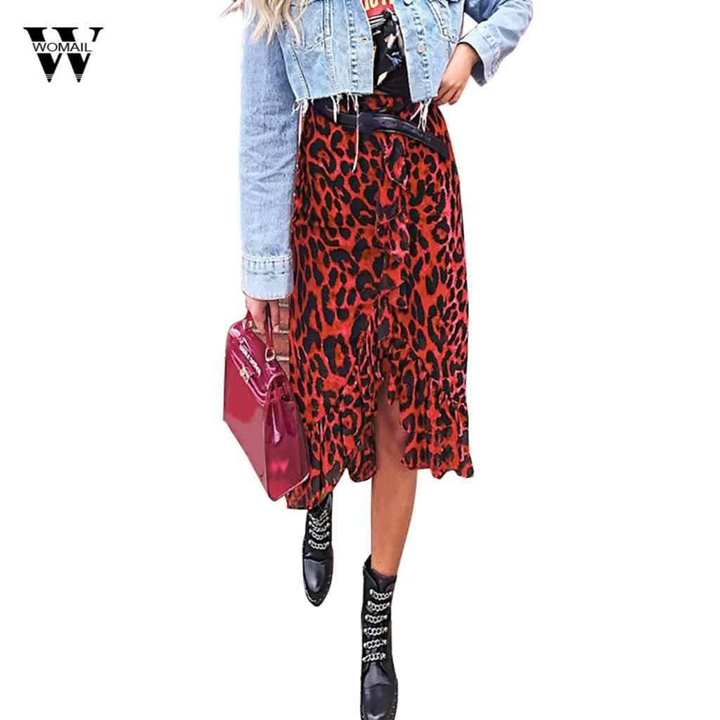 c49848ace3 Womail Fashion Women's Leopard Print Vintage Chiffon Long Skirt Casual  Summer High Waist Ruffles Pleated Skirt