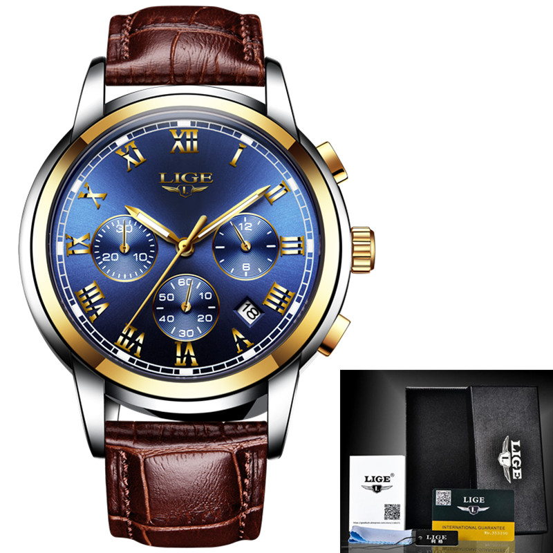 Leather Gold Blue