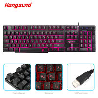 Hongsund Russian/English Gaming Keyboard with 3 Colors Backlit Keycaps Teclado Gamer for PC Games with Similar Mechanical Feel