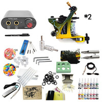 Beginner Complete Tattoo Machine Kit Tattoo Ink Sets Digital LCD Power Supply Needles Mini Tattoo Kit