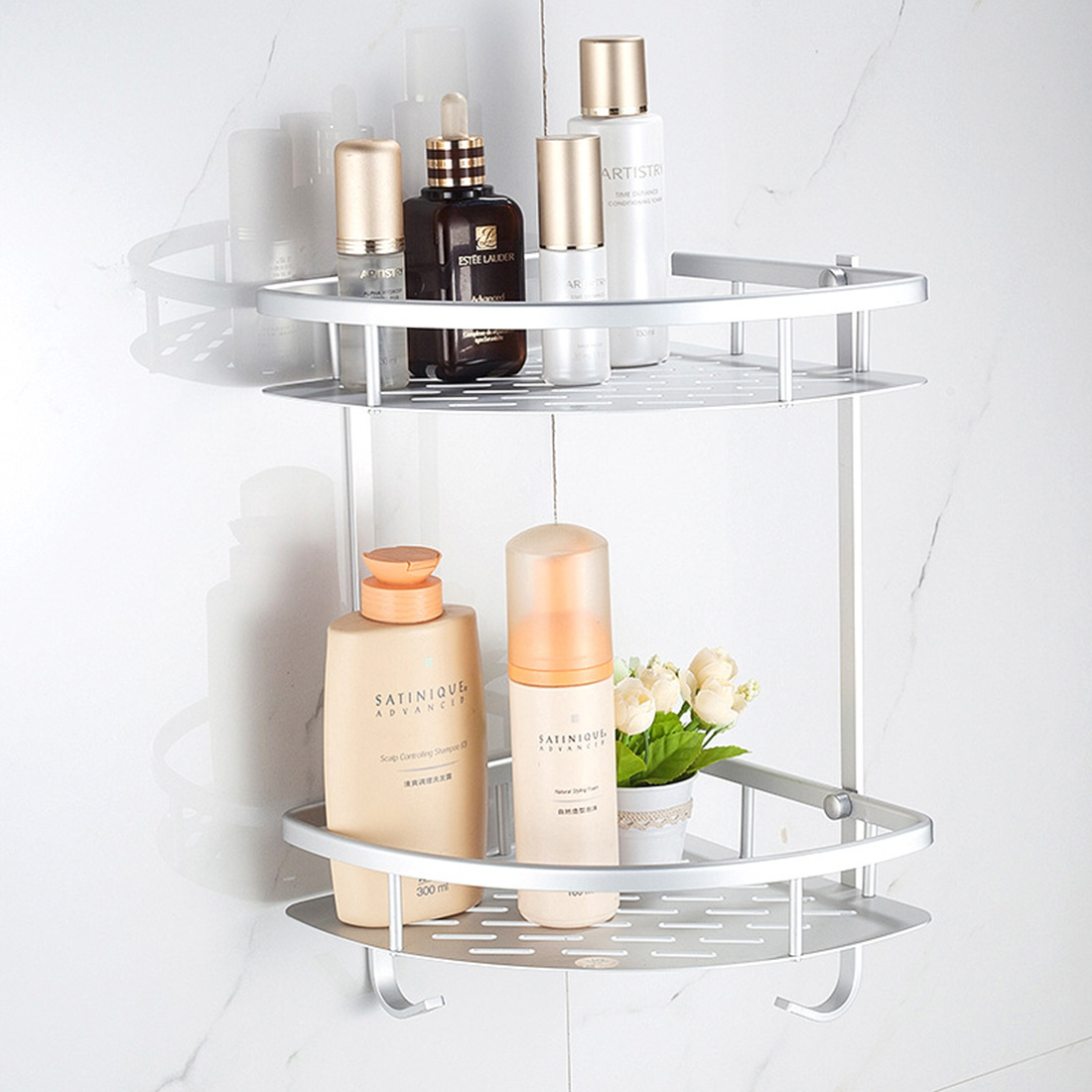 Space Aluminum Bathroom Shelf Shower Shampoo Soap Cosmetic Shelves Bathroom Accessories Storage