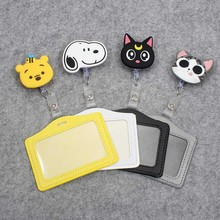 Cartoon Animals Silicone card case holder Bank Credit Card Holders Bus ID Holders Identity Badge with Cartoon Retractable Reel недорого